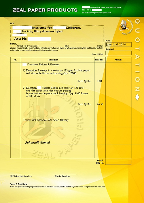 sample quotation for printing items � top docx