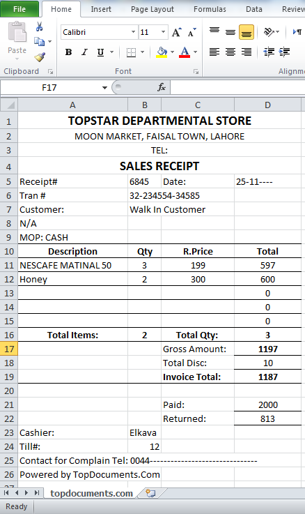 sales receipt template in ms excel top docx