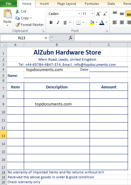 Hardware Store Invoice For Sales Top Docx