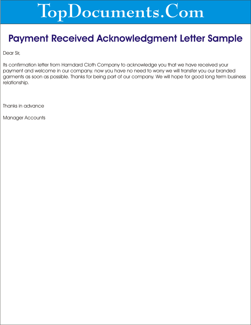 payment receive letter to your client