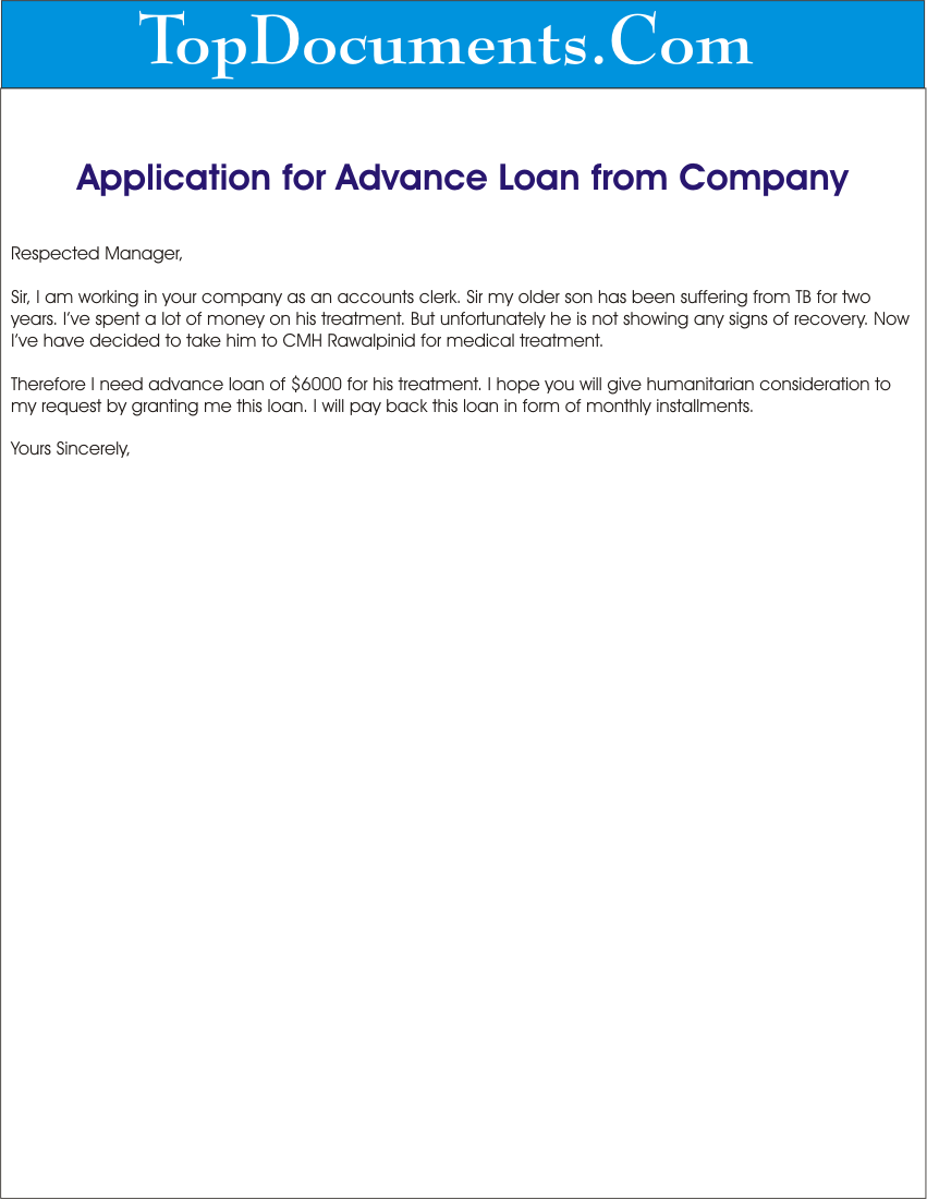 application for advance loan for medical treatment