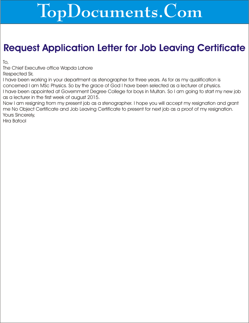 request for job leaving certificate