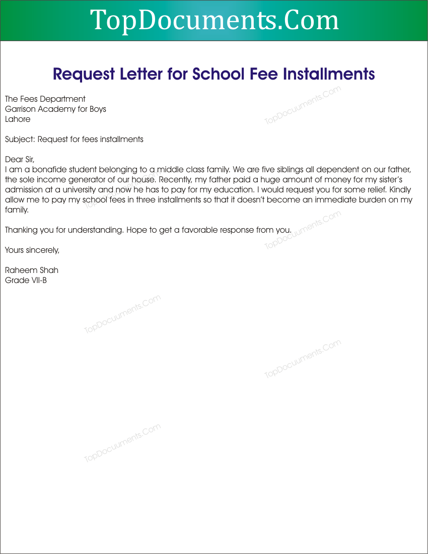 Admission Request Letter
