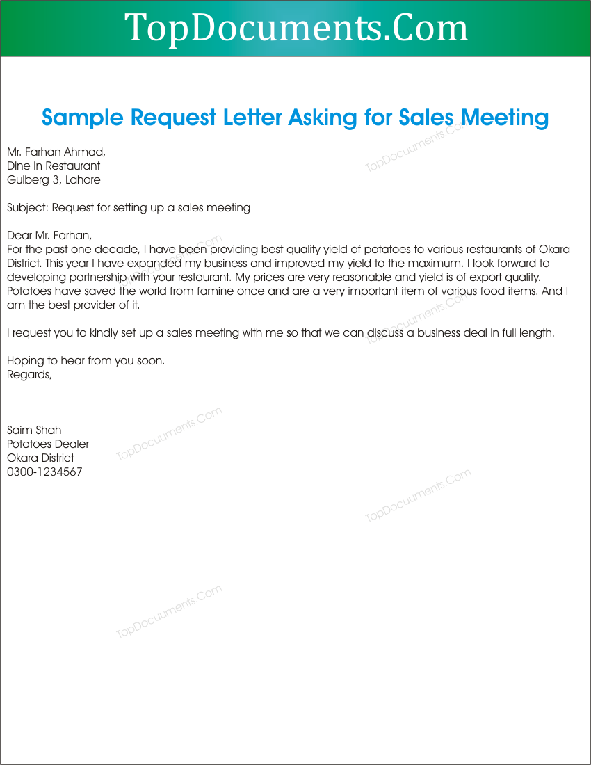 request letter for sales meeting appointment top docx