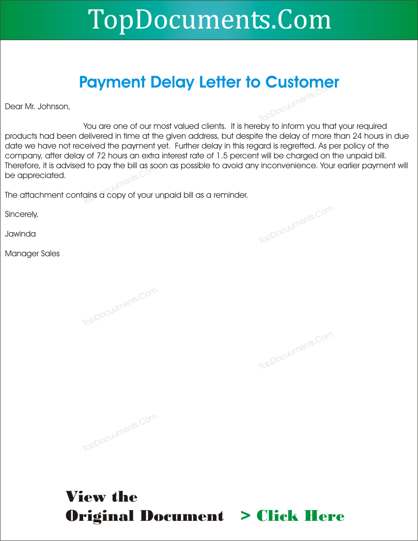 Paymentdelaylettertoclientg spiritdancerdesigns Image collections
