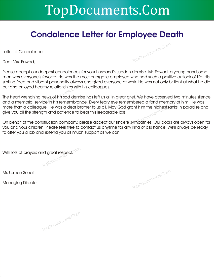 Condolence Letter Sample To Employee