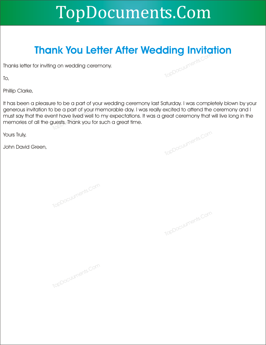 Thank You For Inviting In Marriage Ceremony